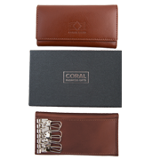 Leather key wallet brown